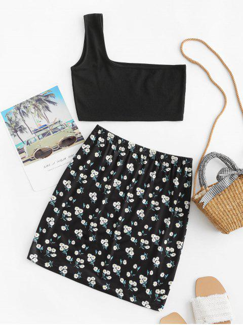 fashion Floral One Shoulder Slit Two Piece Set - BLACK XL Mobile