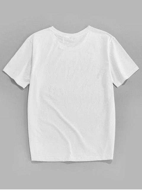 ZAFUL Camiseta de Manga Corta con Estampado de Letras - Blanco 2XL Mobile