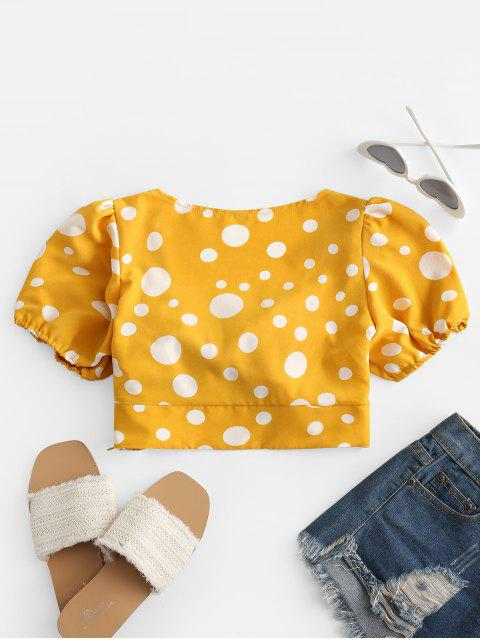 shops Polka Dot Tie Front Crop Blouse - RUBBER DUCKY YELLOW M Mobile
