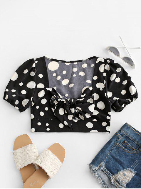 trendy Polka Dot Tie Front Crop Blouse - BLACK M Mobile