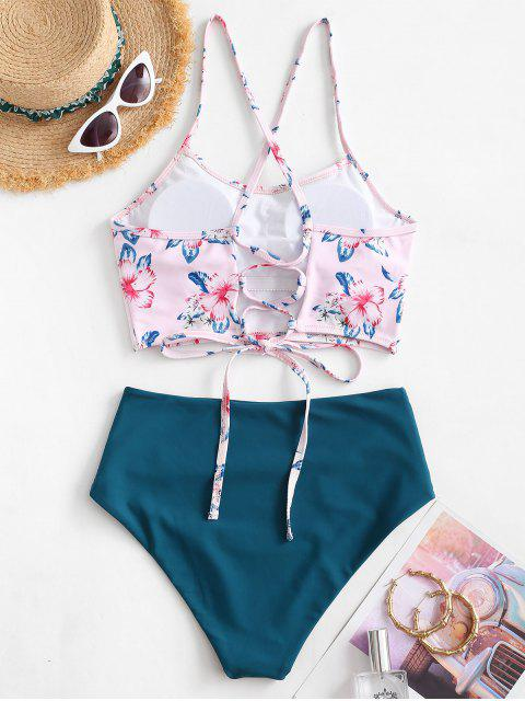 online ZAFUL Leaf Print Crisscross Ruched Tankini Swimsuit - PIG PINK 2XL Mobile