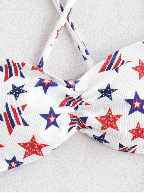 trendy ZAFUL American Flag Cutout One-piece Swimsuit - WHITE M Mobile