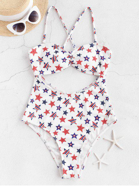 fashion ZAFUL American Flag Cutout One-piece Swimsuit - WHITE L Mobile