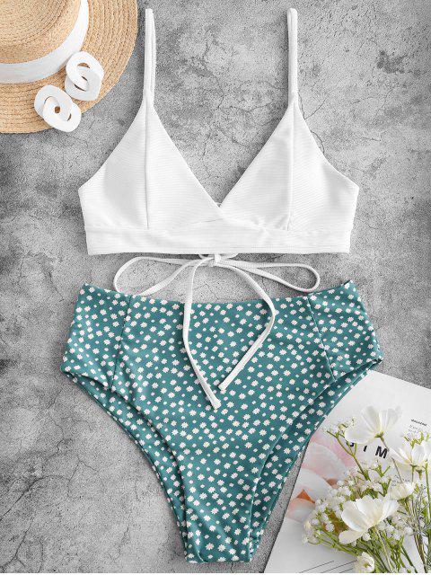 ZAFUL Ditsydruck Gerippter Tankini Badebekleidung mit Schnürung und Hoher Taille - Weiß S Mobile