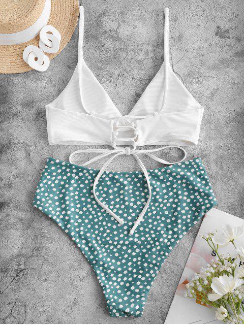 ZAFUL Ditsydruck Gerippter Tankini Badebekleidung mit Schnürung und Hoher Taille - Weiß 2XL Mobile