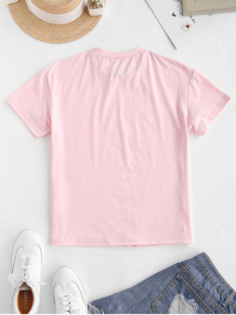 best ZAFUL Heart Letter Graphic Tee - PINK L Mobile