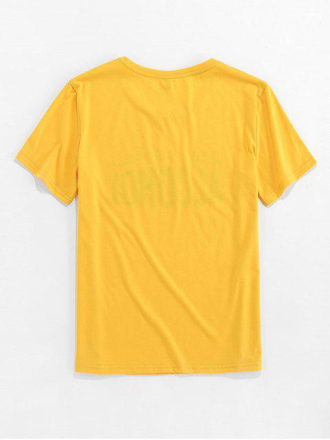T-Shirt Grafica a Lettere con Maniche Corte di ZAFUL - Giallo 2XL Mobile