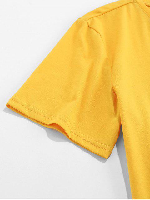 ZAFUL Carta Gráfico Impresso Mangas Curtas T-shirt - Amarelo 2XL Mobile