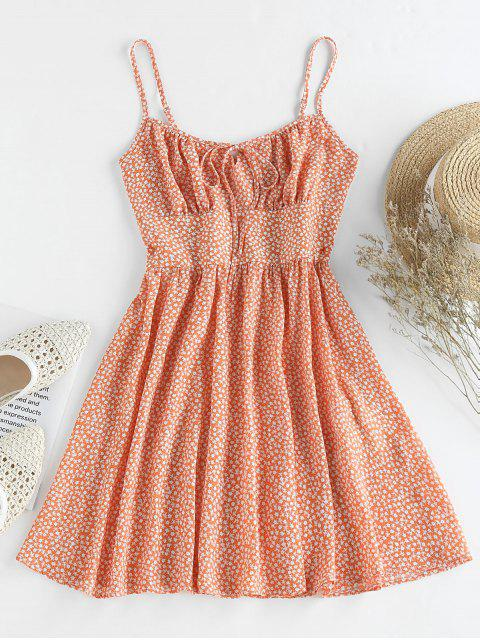 outfits ZAFUL Ditsy Print Mini A Line Dress - LIGHT SALMON M Mobile