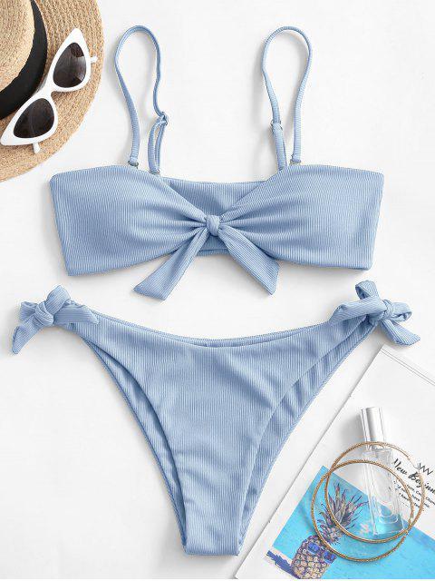 lady ZAFUL Ribbed Knotted Tie Bikini Swimsuit - LIGHT BLUE S Mobile