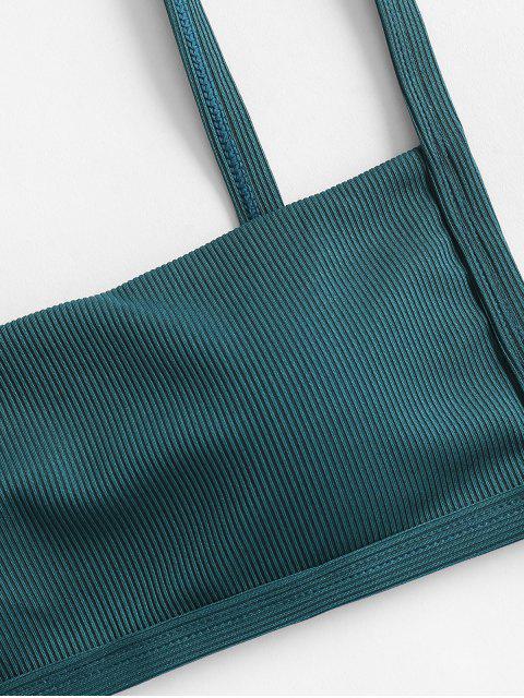 ZAFUL Geripptes Bikini-Top mit Quadratischem Kragen - Pfauenblau M Mobile