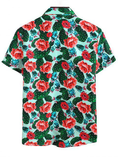 trendy Cactus Flower Print Vacation Shirt - MULTI-A 2XL Mobile