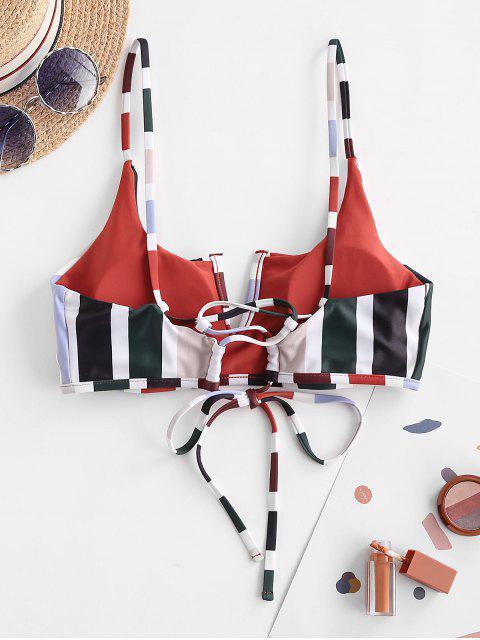 ZAFUL Haut de Bikini Rayé à Lacets à Armature en V - Rouille S Mobile