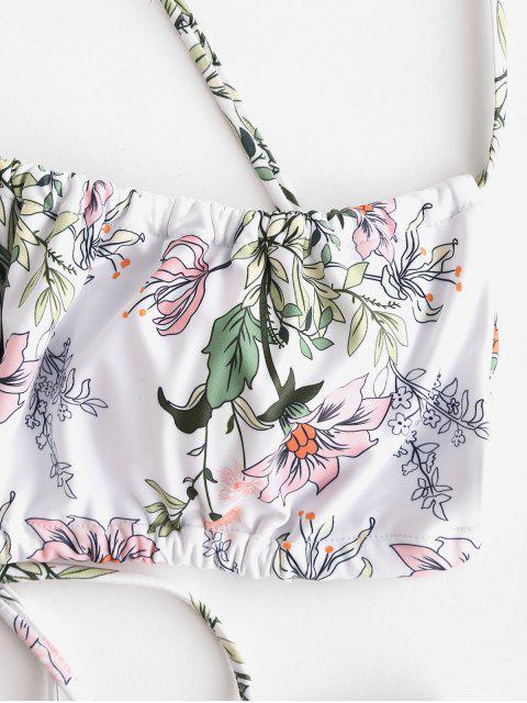 shops ZAFUL Plant Print Crisscross High Cut Bikini Swimwear - ORANGE PINK S Mobile