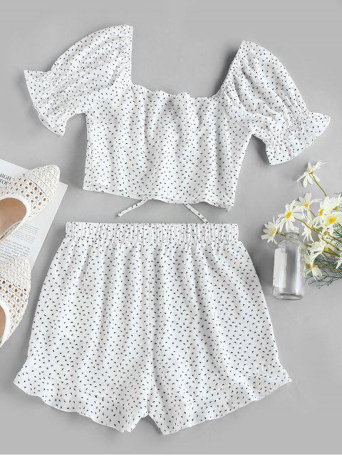buy ZAFUL Printed Sweetheart Ruffle Shorts Set - WHITE S Mobile