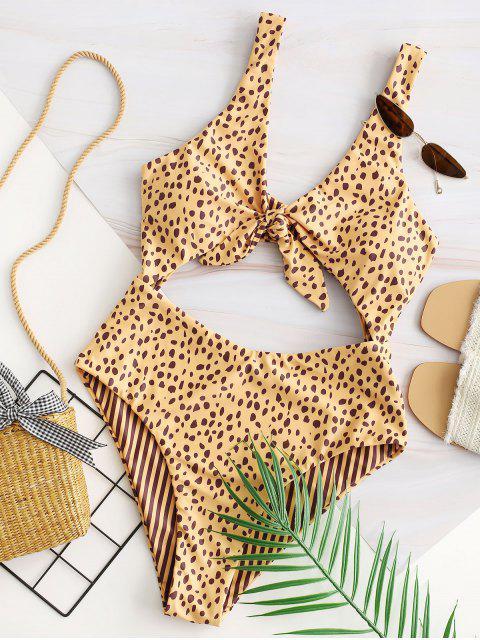 trendy ZAFUL Dalmatians Stripes Reversible Tie Front Cut Out Swimsuit - GOLDEN L Mobile