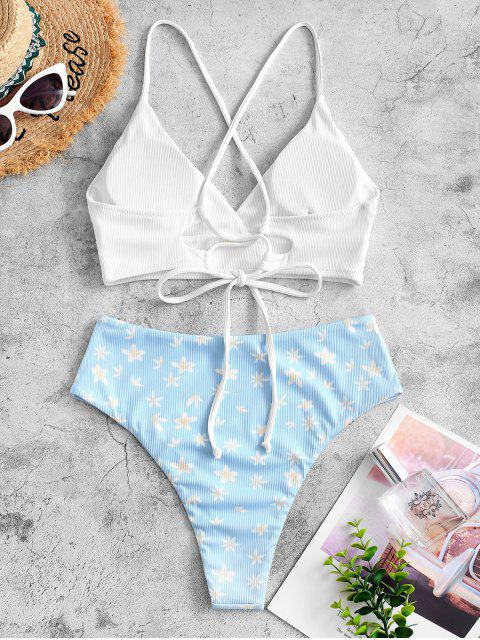 ZAFUL Blumen Gerippte Tankini Badebekleidung - Weiß S Mobile