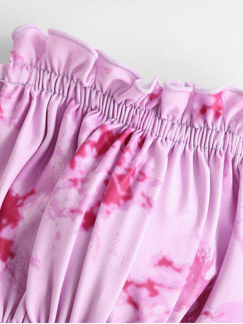 shops ZAFUL Tie Dye Frilled Cutout Reversible Bikini Swimsuit - MULTI-E S Mobile