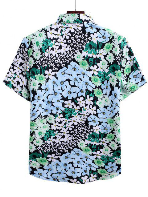 chic Floral Allover Print Vacation Shirt - MULTI-C 3XL Mobile