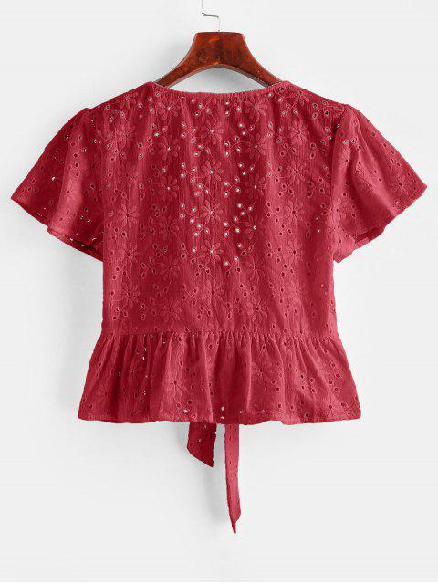 chic Broderie Anglaise Tie Front Flounce Blouse - LAVA RED M Mobile