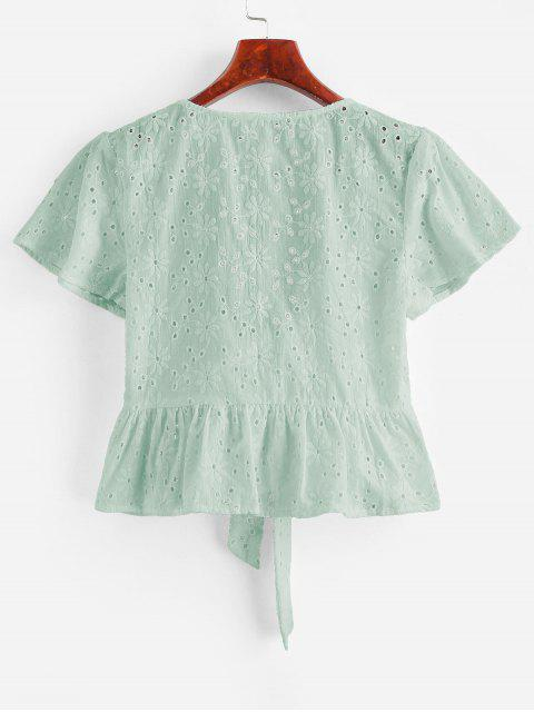 buy Broderie Anglaise Tie Front Flounce Blouse - MINT GREEN L Mobile
