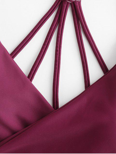 hot ZAFUL Floral Strappy Wrap Bikini Swimsuit - PLUM PIE M Mobile