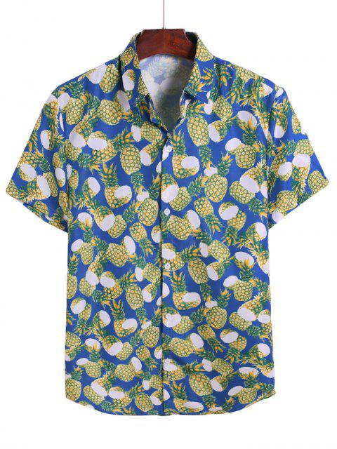 sale Pineapple Allover Print Vacation Shirt - COBALT BLUE 3XL Mobile