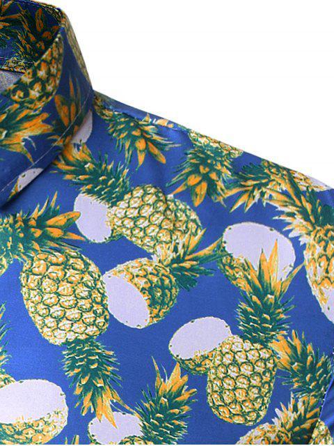 fancy Pineapple Allover Print Vacation Shirt - COBALT BLUE XL Mobile