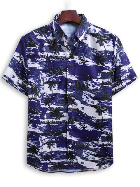 women Palm Tree Print Beach Vacation Shirt - DENIM DARK BLUE 2XL Mobile