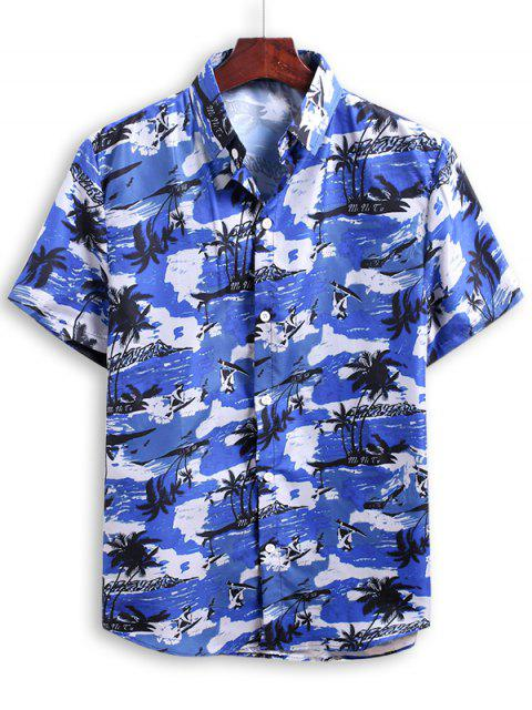 trendy Palm Tree Print Beach Vacation Shirt - OCEAN BLUE 2XL Mobile