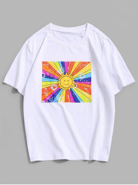 T-Shirt di ZAFUL a Maniche Corte con Stampa Sole - Bianca XL Mobile
