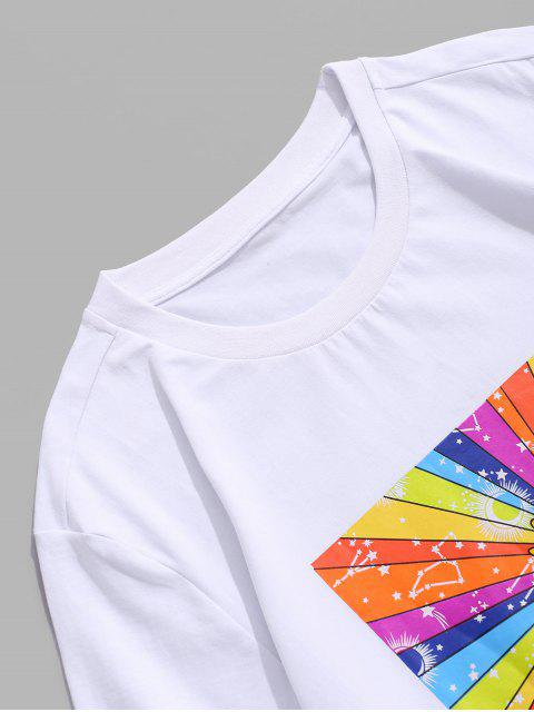 T-Shirt di ZAFUL a Maniche Corte con Stampa Sole - Bianca 2XL Mobile