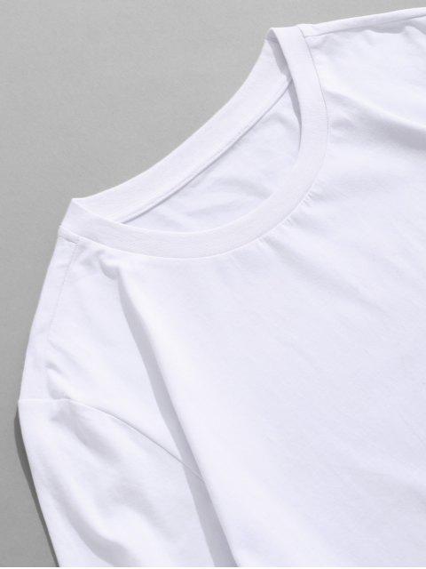 ZAFUL T-shirt de Mangas Curtas Estampado - Branco S Mobile
