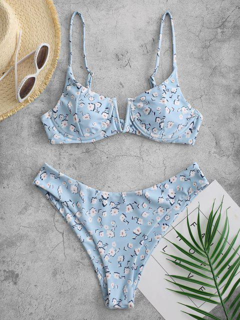 new ZAFUL Flower V Notch Underwire High Cut Bikini Swimsuit - LIGHT BLUE M Mobile