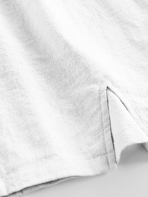 ZAFUL Gerafftes Schlitz Krawatte Schulter Kleid - Weiß XL Mobile