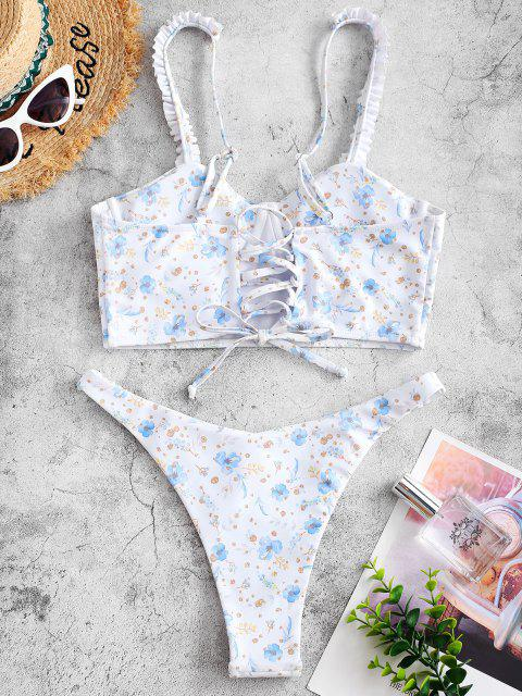 latest ZAFUL Plant Print Frilled Underwire Tankini Swimwear - WHITE XL Mobile