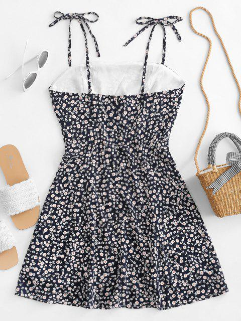 shops Tiny Floral Tie Strap Flare Dress - DEEP BLUE M Mobile