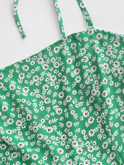 chic Tiny Floral Tie Strap Flare Dress - GREEN L Mobile