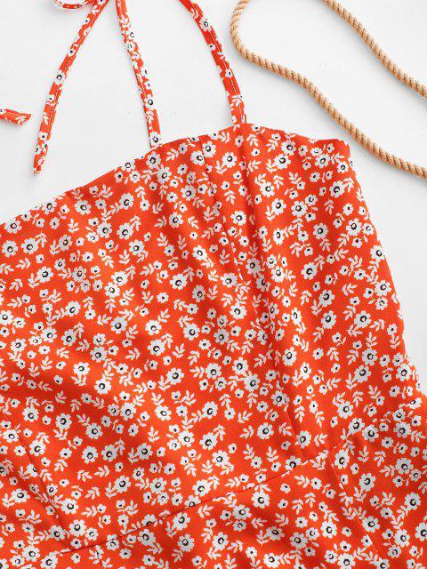 online Tiny Floral Tie Strap Flare Dress - PUMPKIN ORANGE S Mobile