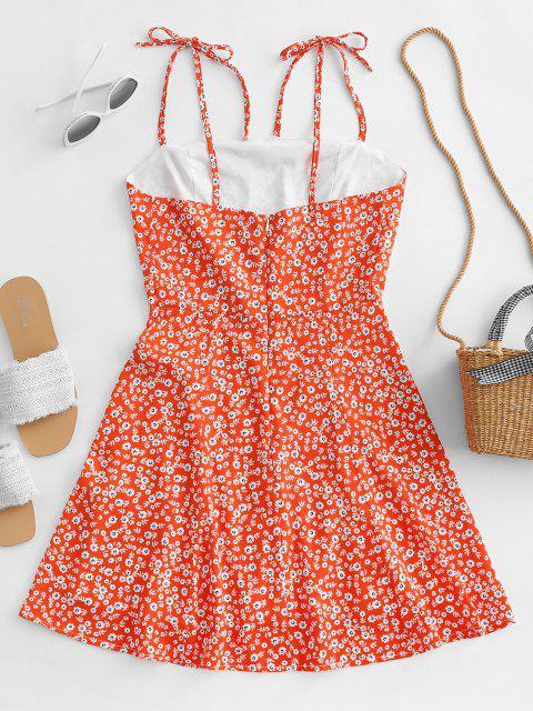 fancy Tiny Floral Tie Strap Flare Dress - PUMPKIN ORANGE M Mobile