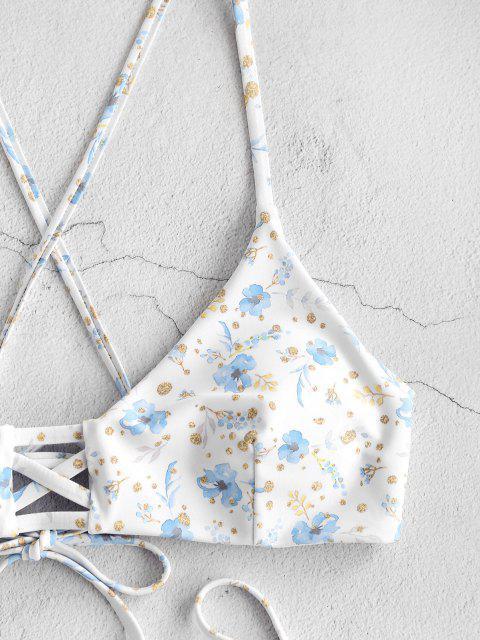 fashion ZAFUL Plant Print Strappy Tie Side Bikini Swimwear - WHITE S Mobile