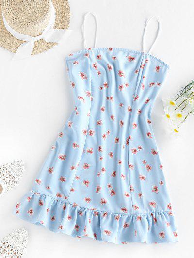 ZAFUL Flounce Floral Print Cami Dress - Baby Blue Xl