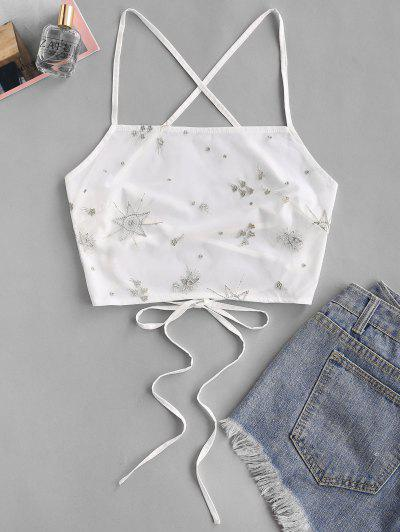 Embroidered Mesh Overlay Crisscross Cami Top - White S