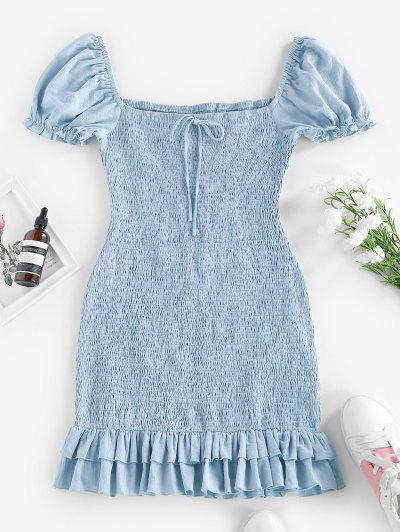 ZAFUL Smocked Bowknot Mermaid Mini Dress - Denim Blue S