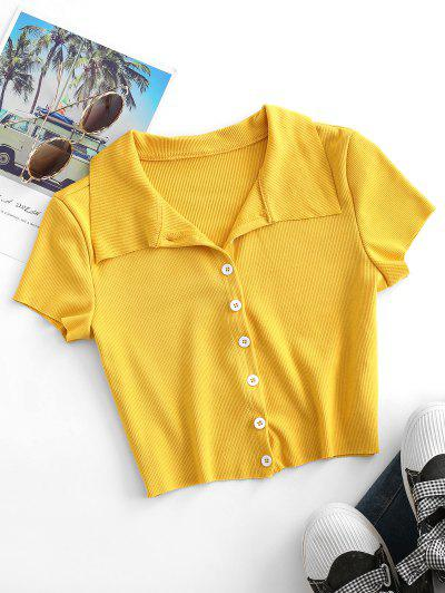 Ribbed Button Up Fitted Crop T-shirt - Goldenrod S