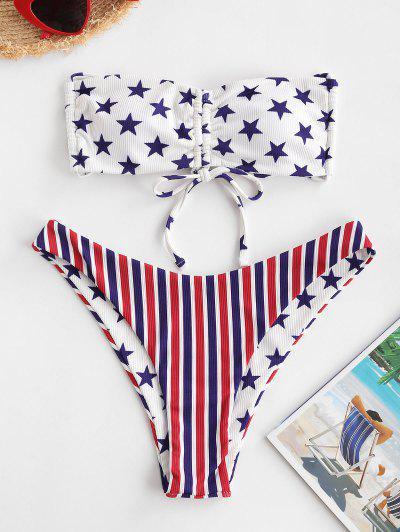 ZAFUL Bikini Bandeau Con Estampado De Bandera Patriótico De Estados Unidos - Multicolor-a L