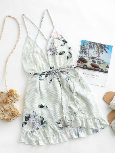 Floral Criss Cross Ruffles Mini Dress - Green M