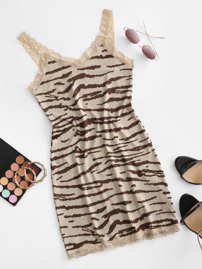 Lace Insert Tiger Print Bodycon Dress - Tan Brown M