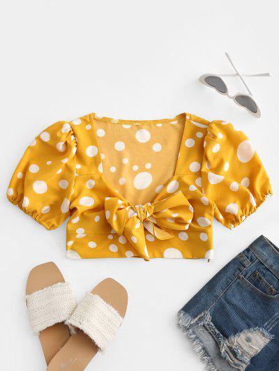 Polka Dot Tie Front Crop Blouse - Rubber Ducky Yellow L