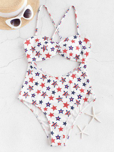 ZAFUL American Flag Cutout One-piece Swimsuit - White S